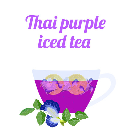 Thai purple iced tea in glass cup on white background. Concept for cocktail menu bar. Vector illustration in flat design.