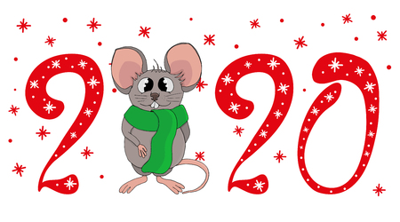 Vector of cartoon doodle white funny cute rat in warm green scarf. Red inscription lettering  2020.