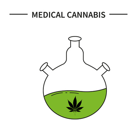 Medical vial with a chemical cannabis. Icon line art. Hemp in medicine Illustration