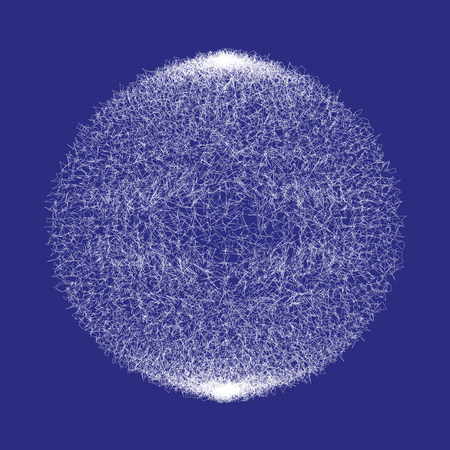 White fluffy confusing abstract volume  ball isolated on blue background. Complex chaotic sphere. Vector illustration Illustration