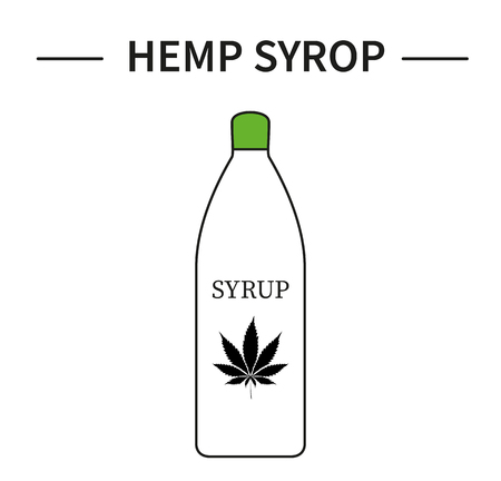 A bottle with hemp syrup with a leaf of cannabis. Line art icon. Organic food.