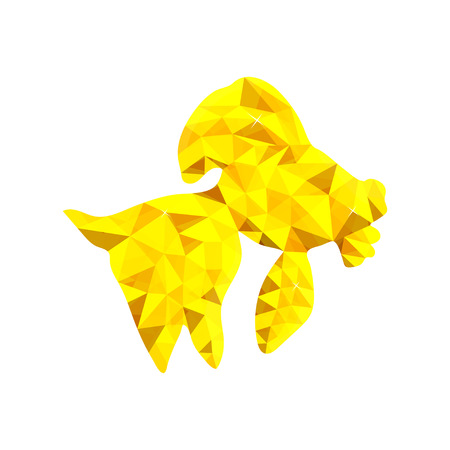 Low poly gold fish illustration. On white background, isolated vector object.