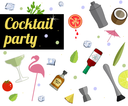 Alcohol drink bar menu banner with flat color glasses, fruts, bartender tools. Template design isolated on white background. Flat vector illustration.