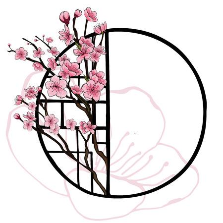 Bannière de style oriental printanier avec cadre de fenêtre chinois traditionnel et fleurs roses de cerisier, sakura sur des branches d'arbres, contours de fleur de cerisier. Conception de l'affiche, fond clair, place pour le texte.