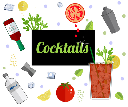 Alcohol drink bar menu banner with flat color glasses, fruts, bartender tools. Template design isolated on white background. Flat vector illustration. Illustration