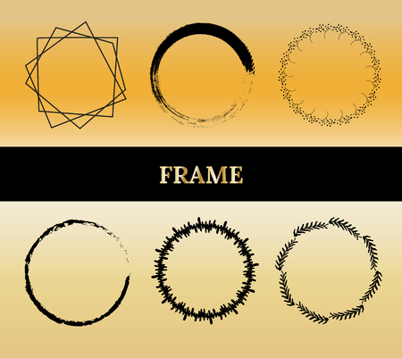 Set of golden round frame. Geometric frame. Botanical abstract elements.