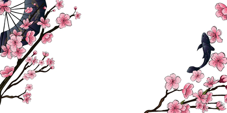 Horizontal spring banner in oriental style. Pink cherry flowers and contours on the branches of trees, a fan with goldfish, black koi fish. There is a place for your text on a white background. Ilustração