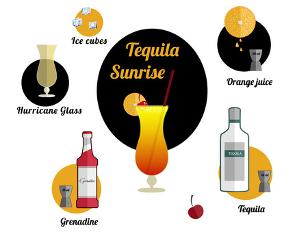 Alcoholic popular cocktail Tequila Sunrise  recipe with ingredients. Cocktail infographic set. Flat vector illustration. Tequila, orange juice, grenadine, cherry. Suitable for animation.