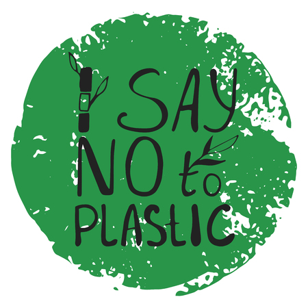 Say no to plastice text with bamboo sprout on abstract green background. Sign around circle vector design