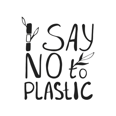 Say no to plastice black text with bamboo sprout on white background. Sign vector design.  イラスト・ベクター素材