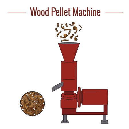 Machine for the production of wood pellets used for processing (pressing) wood waste for the production of boiler fuel. Colored vector illustration. The icon. Illusztráció