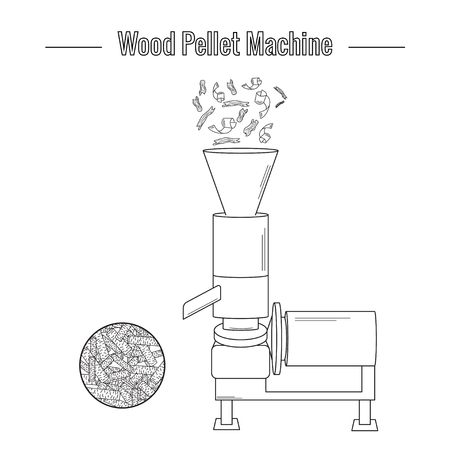A wood pellet production machine is used to process pressed wood waste for the production of boiler fuel. Black and white vector illustration. Icon Illustration
