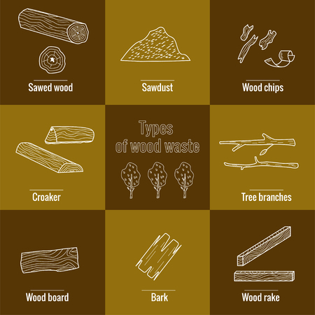 Line style icon collection - wood waste elements. Symbols collection -  sawed wood, sawdust, wood chips, croaker, tree branches, wood board, bark, tree. Foto de archivo - 123916943
