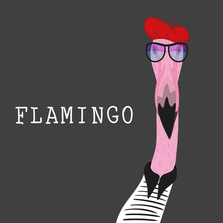 Portrait of Hipster flamingo in a fun neon glasses and red barret. Fashion dressed up animal illustration. Funny poster. T-shirt composition, hand drawn style print. Stock Illustratie