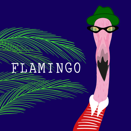 Portrait of Hipster flamingo in a fun neon glasses and green hat. Fashion dressed up animal illustration. Funny poster whith tropical leaves. T-shirt composition, hand drawn style print.