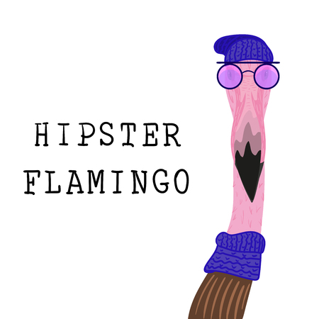 Portrait of Hipster flamingo in a fun neon glasses and in a blue knit hat and a snood. Fashion dressed up animal illustration. Funny poster on white background. T-shirt composition for print. Stock Illustratie