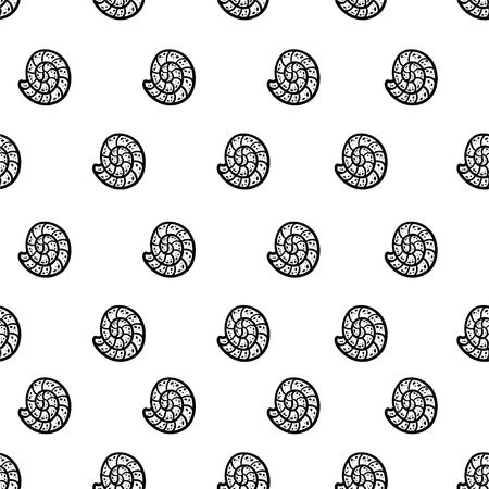Black and white seamless pattern with sea elements on a white background. Sea shells. Doodle style Ideal for children's clothing, fabrics, textiles, children's decorations, wrapping paper. Vector illustration. Archivio Fotografico - 123919610