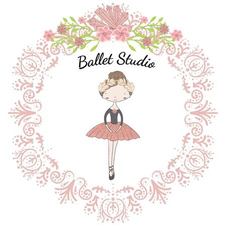 Little cute ballerina princess of the ballet. Decorative circle pink floral frame with crystals and inscription ballet studio.