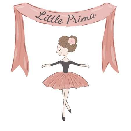 Little cute ballerina princess of the ballet. Decorative ribbon with flowers and inscription Little Prima.