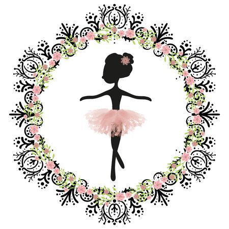 Black silhouette and pink tutu little cute ballerina princess of the ballet. Decorative circle black frame with flowers