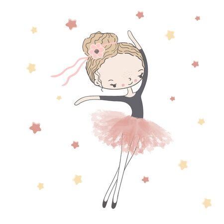 Girl ballerina in pink tutu with a ribbon in her hair dancer under the stars. Иллюстрация