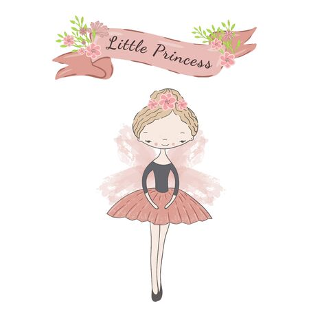 Little cute ballerina princess of the ballet with wings. Decorative ribbon with flowers and inscription Little Princess.
