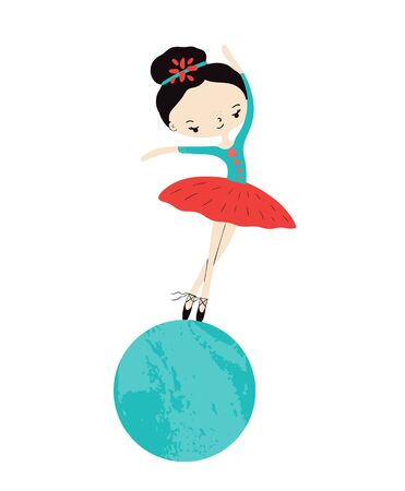 Little cute circus princess of the ballet. Girl on the ball. T-shirt print design for girl.