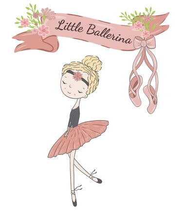 Little cute ballerina princess of the ballet. Decorative ribbon with flowers, pointe shoes and inscription Little Ballerina.