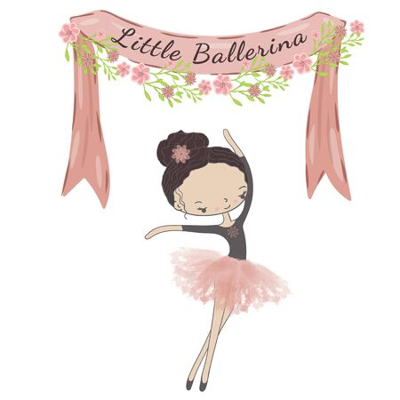 Little cute ballerina princess of the ballet. Decorative ribbon with flowers and inscription Little Ballerina.