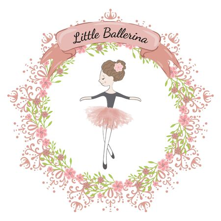 Little cute ballerina princess of the ballet. Decorative circle floral frame and ribbon with the inscription Little Ballerina.