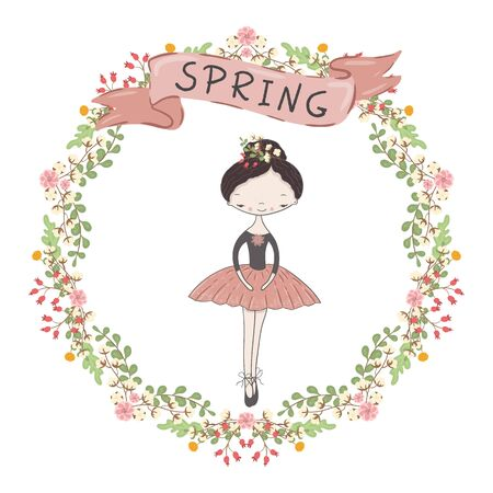 Little cute ballerina princess of the ballet. Decorative circle floral frame and ribbon with the inscription spring.