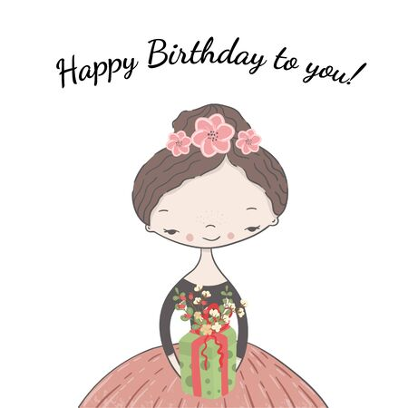 A girl with flowers in her hair holds in her hand a gift decorated with a floral arrangement with inscription Happy Birthday to you. Vector illustration greeting card, poster, print.