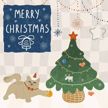 Funny cat in a santa hat and with a butterfly touches a toy on a Christmas tree with his paw. Decorated with a garland, balls, toys Christmas green spruce. Christmas tree flat vector illustration. The inscription Merry Christmas and a salute flare. Vektorové ilustrace