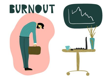 Tired man with a briefcase, head down in front of an office table with a laptop, a mug of coffee. Overwhelmed workaholic has no energy to move on. Professional burnout, low energy. Flat cartoon vector illustration.