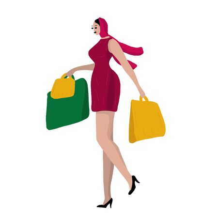 A beautiful woman in a scarf and dress, in high heel shoes is walking with packages from stores. Woman or girl shopping. Woman daily life, everyday. Relax. Flat modern vector isolated illustration.