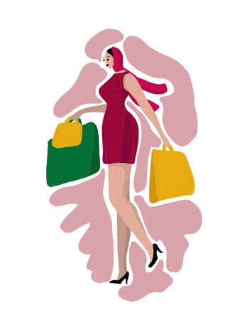 A beautiful woman in a scarf and dress, in high heel shoes is walking with packages from stores. Shopping. Woman daily life, everyday. Relax. Flat modern vector isolated illustration.