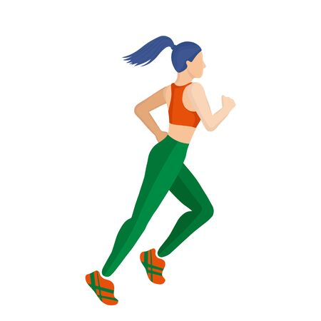 A girl in a tracksuit is running. Doing sports. Art concept of a running woman. Woman daily life, everyday. Flat modern color vector isolated illustration.
