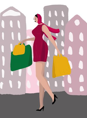 A beautiful woman in a scarf and dress, in high heel shoes is walking around the city with packages from shops. Woman daily life, everyday. Relax. Flat modern vector isolated illustration. Shopping.