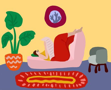 Woman in home clothes lies on a sofa at home and reads a newspaper. Rest at home. Woman daily life, everyday. Relax. Flat modern vector illustration.
