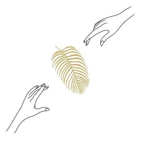 Vector modern line art of woman hands, palm leaf. Vintage art deco hand drawn simple illustration for promotional items, environmental concept, posters, fashion t-shirt design, printing, posters, invitations, cards, leaflets. Vettoriali