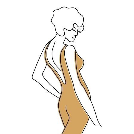 Vector modern line art of woman. Vintage art deco hand drawn simple illustration for promotional items, posters, fashion t-shirt design, printing, posters, invitations, cards, leaflets. Isolated on white. Vettoriali
