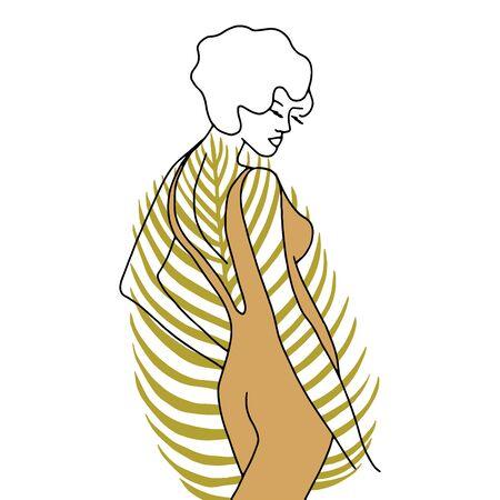 Vector modern line art of woman, palm leaf. Vintage art deco hand drawn illustration for fashion t-shirt design, printing, posters, invitations, cards, leaflets.