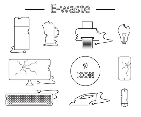 Line style icon collection - black and white e-waste elements. Electrical waste symbols collection - computer, phone, kettle. printer, monitor, broken glass, iron, battery, keyboard, light bulb.