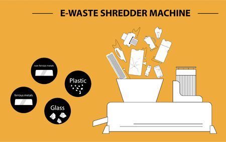 The concept of processing electronic waste by means of shredding machine and further extraction of secondary resources. Line design style black and whitel illustration. Vettoriali
