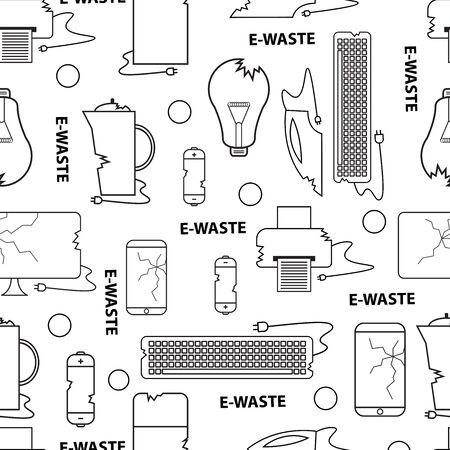 Line style icon collection - e-waste elements. Seamless pattern black and white. Electrical waste symbols collection - computer, phone, kettle, printer, monitor, broken glass, iron, battery, keyboard, light bulb. Vettoriali