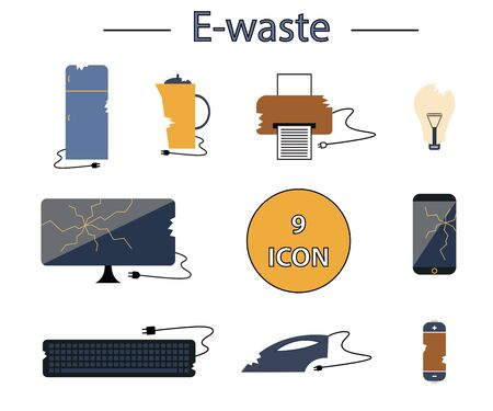 Flat icon collection - colorful vector e-waste elements. Electrical waste symbols collection - computer, phone, kettle, printer, monitor, broken glass, iron, battery, keyboard, light bulb. Vettoriali
