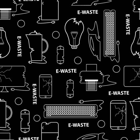 Line style icon collection - e-waste elements. Seamless pattern white on black background. Electrical waste symbols collection - computer, phone, kettle, printer, monitor, broken glass, iron, battery, keyboard, light bulb.