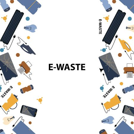 Template for text. Flat design style colorful illustration. E-waste sorting and recycling. Electrical waste symbols collection - computer, phone, kettle, printer, monitor, broken glass, iron, battery, keyboard, light bulb. Vettoriali