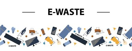 Horizontal seamless border. E-Waste sorting and recycling. Flat design style colorful illustration. Electrical waste symbols collection - computer, phone, kettle, printer, monitor, broken glass, iron, battery, keyboard, light bulb. Vettoriali