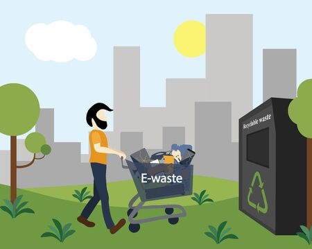 A man takes electronics waste on a trolley to a waste recycling center. Concept with city skyscrapers skyline in the background. Flat design style colorful illustration. Vettoriali